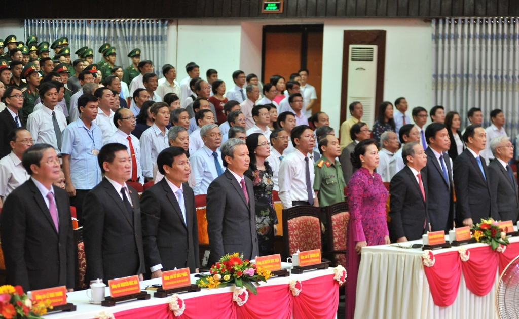 Minister of Culture, Sports and Tourism Nguyen Ngoc Thien and Provincial Party Committee Secretary Le Truong Luu attending the ceremony