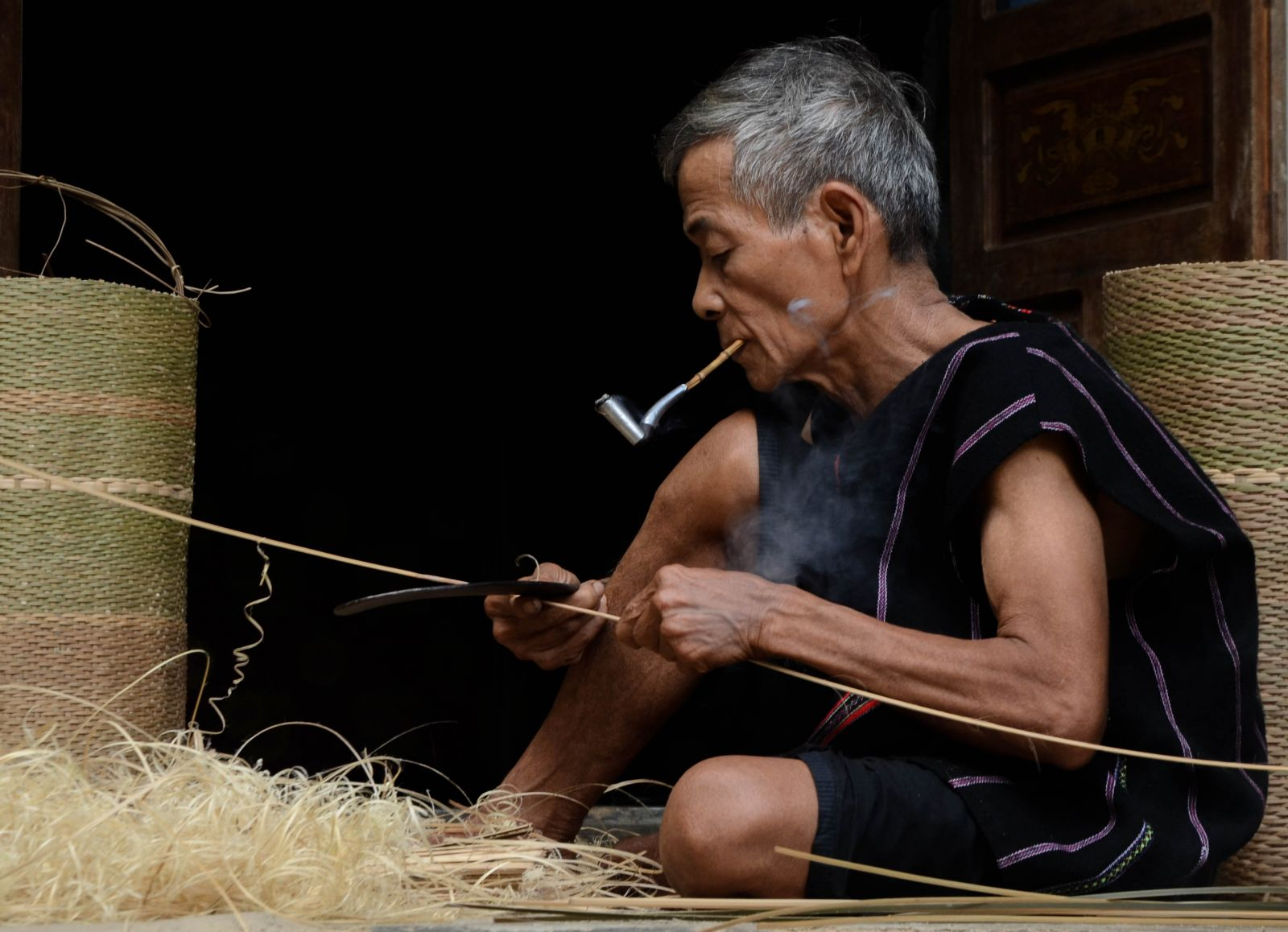 Splitting and shaving the rattan is the first stage of the basket making process