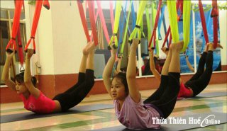 Attractive aerial yoga