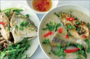 Giant trevally fish porridge