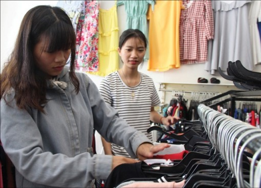 Shopping for fashion items at consignment stores
