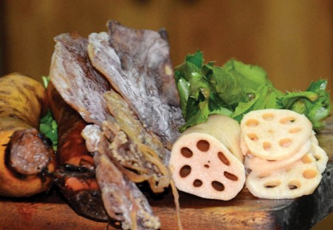 Lotus root soup with dried squid: both strange and familiar