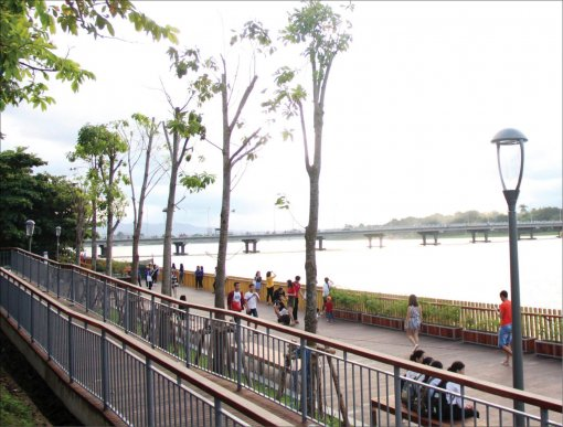 The Perfume River is the main space and landscape axis