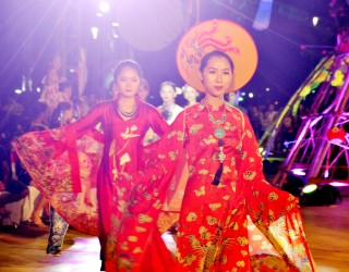 Kite images on the ao dai