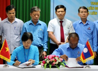 The Provincial Labor Federation signs cooperation agreement with the Federation of Trade Unions of Salavan Province (Laos)