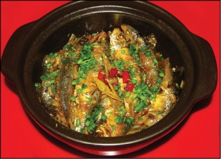 Grilled herring cooked with ginger