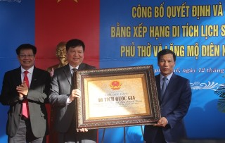 Welcoming the certificate of national historical relic for the worship hall and the tomb of Dien Khanh Vuong