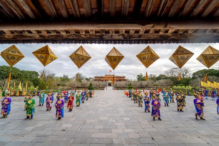 Re-enactment of the Nguyen Dan (Lunar New Year) ceremony under the Nguyen dynasty