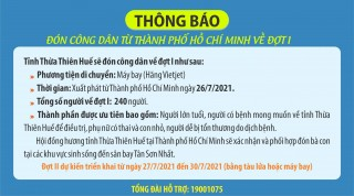 Welcoming Thua Thien Hue people coming back from Ho Chi Minh City by air for phase 1